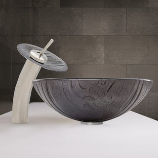 VIGO Interspace Glass Vessel Sink and Waterfall Faucet Set in Brushed Nickel Finish