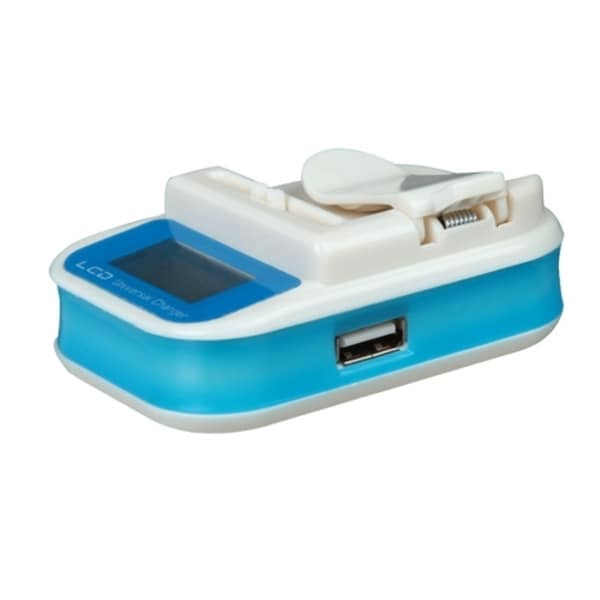Insten Blue LCD Universal Portable Li-ion Battery Charger 4.2V With USB Port