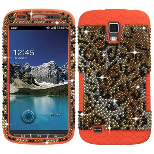 Insten Brown/ Orange Cheetah Rhinestone Diamond Bling PC/ Silicone Phone Case Cover For Samsung Galaxy S4 Active GT-I9295