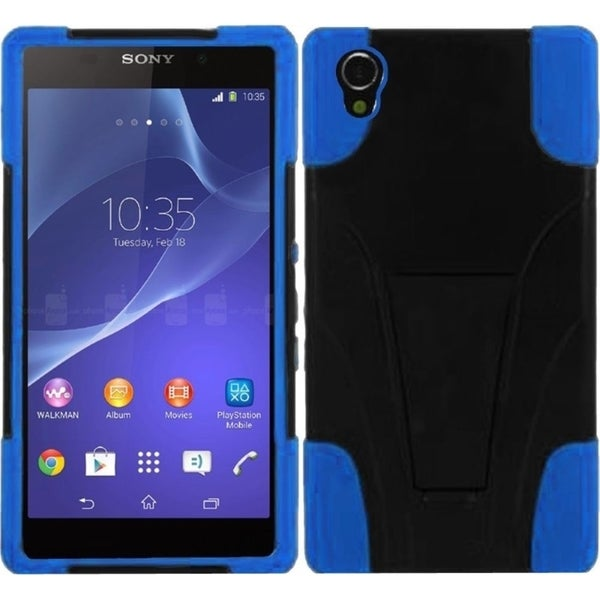 Insten Black/ Blue Dual Layer Hybrid Stand PC/ Soft Silicone Phone Case Cover For Sony Xperia Z2