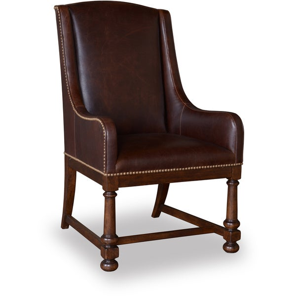 Leather Pine Country Arm Chair