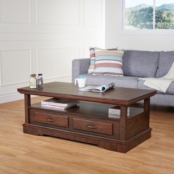 Furniture of America Cherton Vintage Walnut 2-Drawer Coffee Table