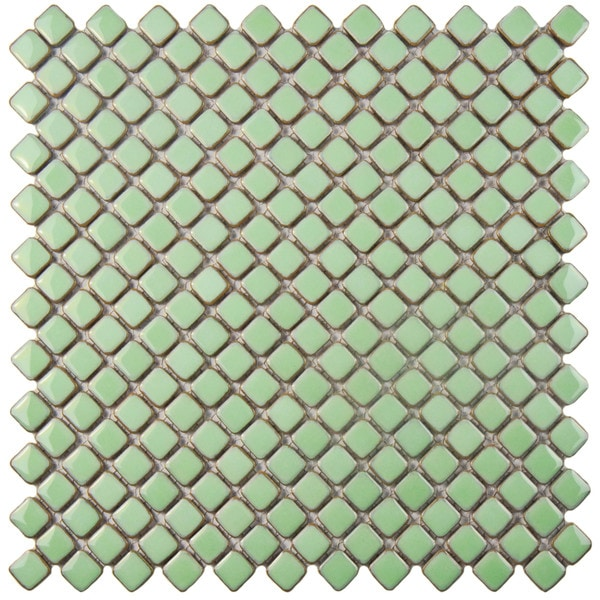 Jewel Light Green Porcelain Mosaic Floor And Wall Tile
