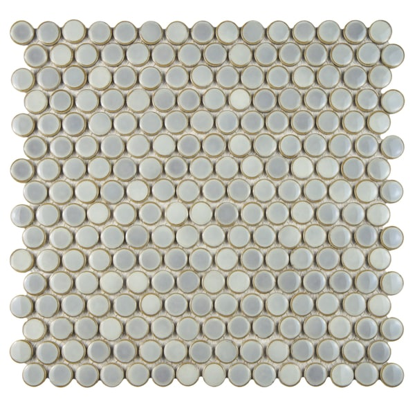Penny Grey Eye Porcelain Mosaic Floor And Wall Tile