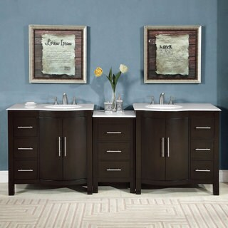 Silkroad Exclusive 89-inch Double Sink Carrara White Marble Stone Top Bathroom Modular Vanity