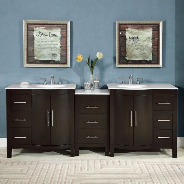 Silkroad exclusive 89 inch double sink carrara whi 1 gay times for Prefabricated bathroom cabinets