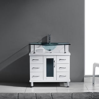 Virtu USA Vincente 32-inch Single Tempered Glass Sink White Bathroom Vanity