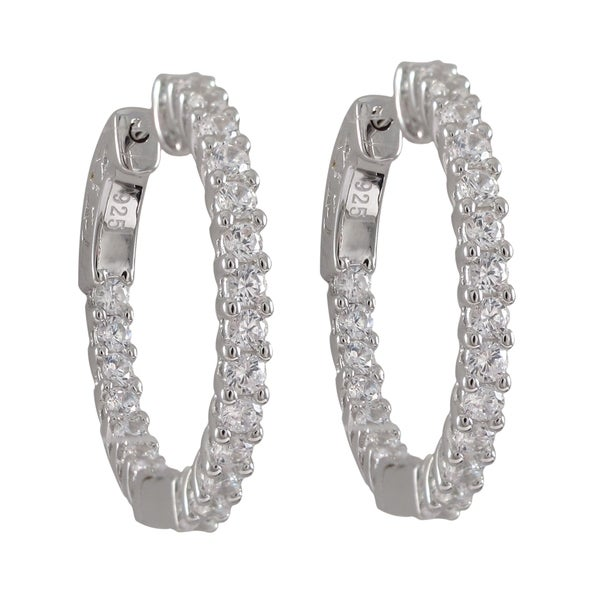 Sterling Silver Prong-set Cubic Zirconia 25mm Hoop Earrings
