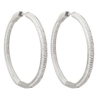 Sterling Silver Pave Cubic Zirconia 42mm Hoop Earrings
