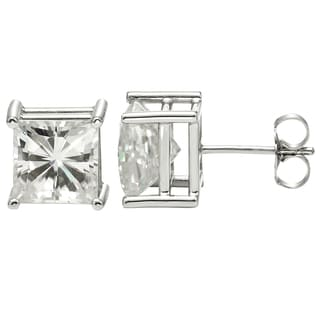 Charles & Colvard 14k White Gold 1.60 TGW Square Brilliant Classic Moissanite Stud Earrings