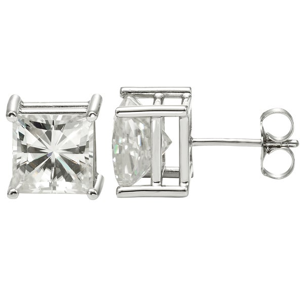 Charles & Colvard Created Moissanite 14k White Gold Moissanite Princess-cut Solitaire Stud Earrings