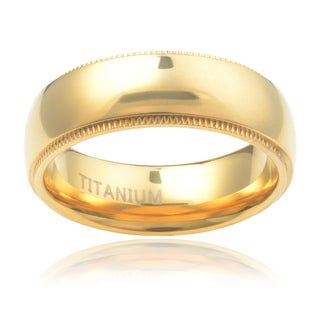 Vance Co. Goldtone Titanium Men's Milgrain Polished Dome 8mm Band