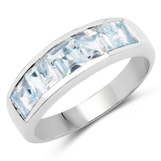 Malaika Sterling Silver Square Aquamarine 5-stoen Ring