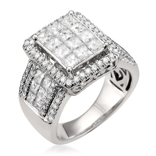 14k White Gold 3ct TDW Princess-cut Diamond Ring (H-I, I1-I2)