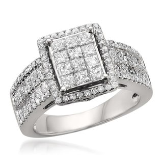 14k White Gold 2ct TDW Princess-cut Diamond Ring (G-H, SI1-SI2)