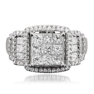 14k White Gold 1 7/8ct TDW Princess-cut Diamond Ring (G-H, SI1-SI2)