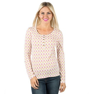 DownEast Basics Women's Floral Henley Top