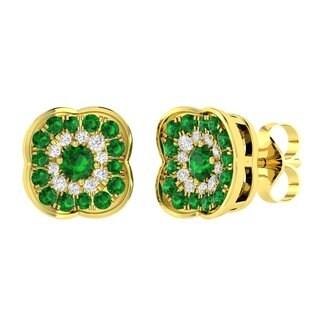 18k Yellow Gold Round Emerald Diamond Accent Stud Earrings