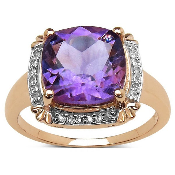 14k Ross Gold plated Sterling Silver Amethyst White Topaz Ring