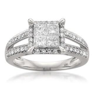 14k White Gold 1 1/6ct TDW Princess-cut Diamond Ring (G-H, SI1-SI2)