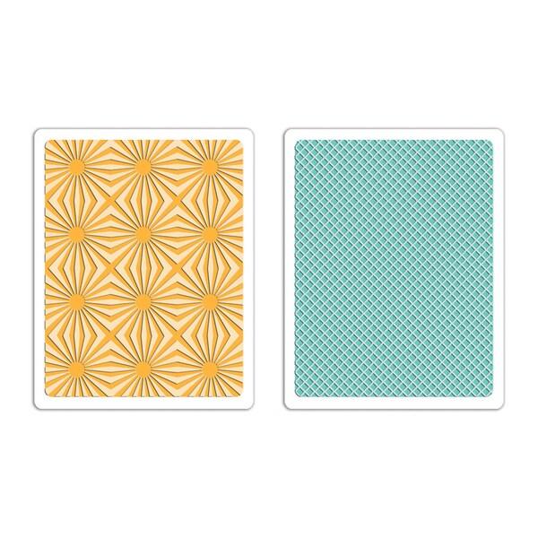 Sizzix Textured Impressions A6 Embossing Folders 2/Pkg-Sunburst & Waffle