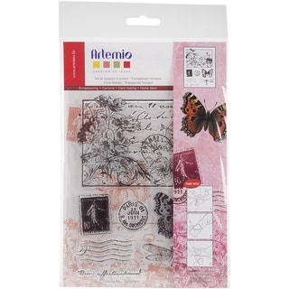"Artemio Clear Stamps 5.9""X8.7""-Postcard Vintage W/Flowers"