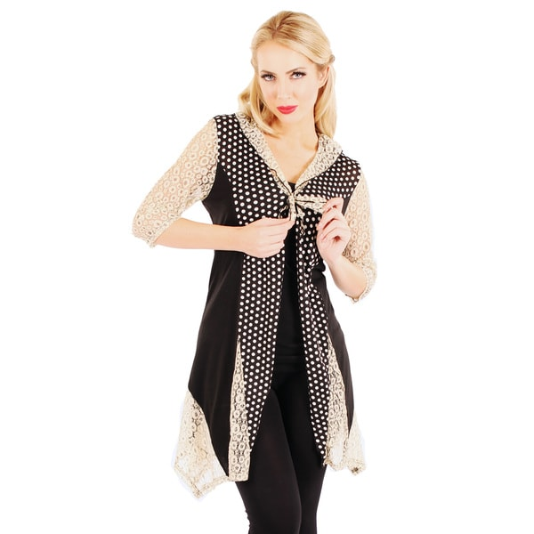 Firmiana Women's 3/4 Sleeve Black/ Cream Lace Open Front Cardigan