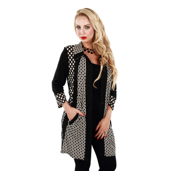 Firmiana Women's Long Sleeve Black/ White Button Down Long Tunic