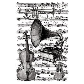 """Artemio Cling Stamps 3.93""""X5.7""""-Musical Instruments W/Score Background"""