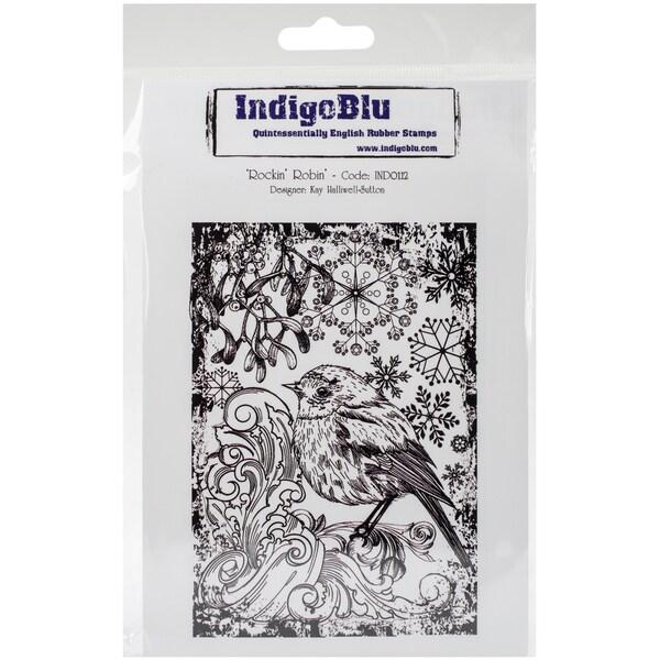 "IndigoBlu Cling Mounted Stamp 5""X4""-Rockin Robin"