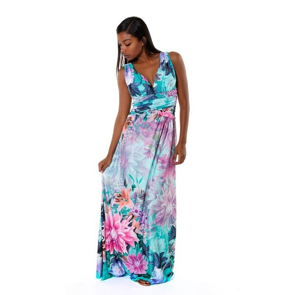 Hadari Women's V-neck Sleevless Multicolored Floral Maxi Dress