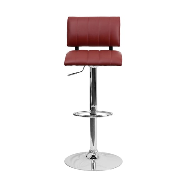 Offex Contemporary Burgundy/ White Vinyl Bar Stool