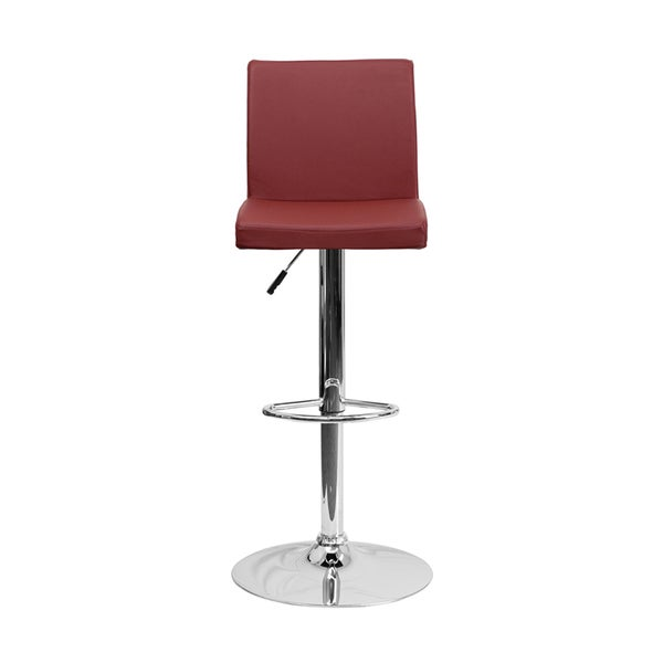 Offex Contemporary Burgundy Vinyl Bar Stool