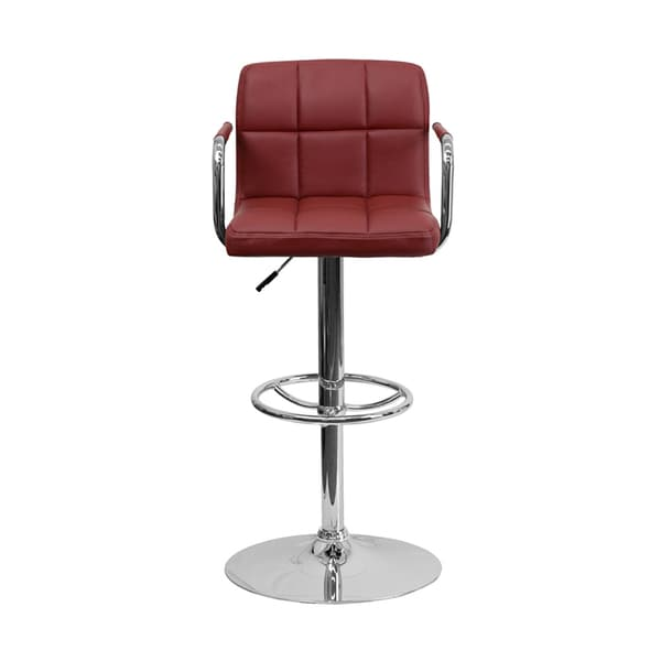 Offex Contemporary Burgundy Quilted Vinyl Stool