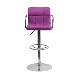 Offex Contemporary Purple Quilted Vinyl Bar Stool