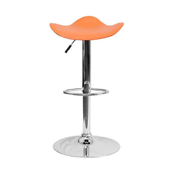 Offex Contemporary Orange Backless Bar Stool