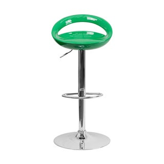 Offex Contemporary Green Plastic Adjustable Bar Stool with Chrome Base