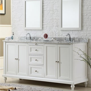 Direct. Vanity Sink 70-inch Classic Pearl White Double Vanity Sink Cabinet