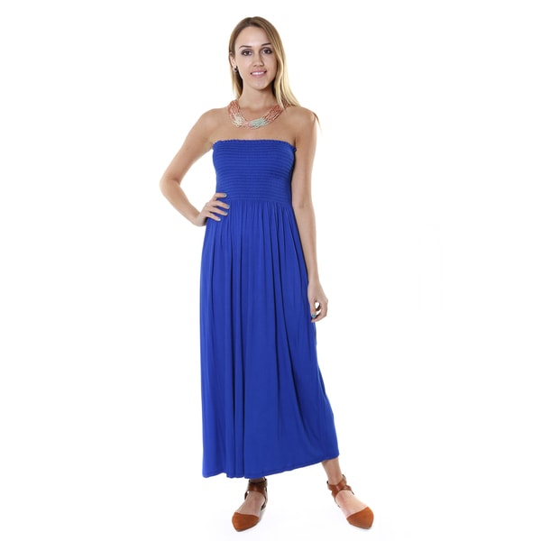 Hadari Women's Royal Blue Strapless Maxi Dress