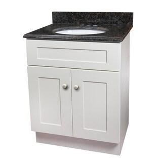 Tan Brown Granite Top White Single Sink Vanity