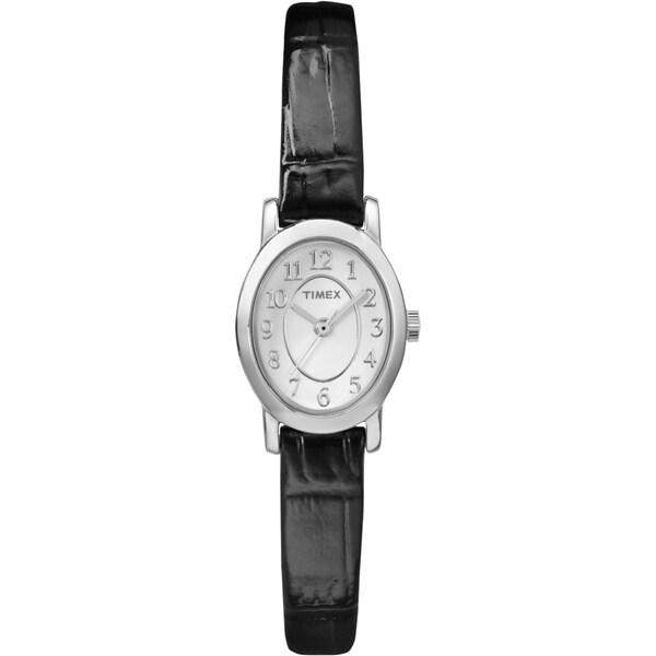 Timex Women's Cavatina Silver-Tone Black Leather Strap Watch