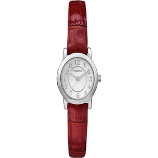 Timex Women's Cavatina Silver-Tone Red Croco-Pattern Leather Strap Watch