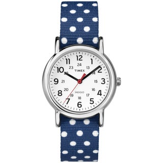 Timex Women's Weekender Polkadot Reversible Navy Blue Slip-Thru Nylon Strap Watch