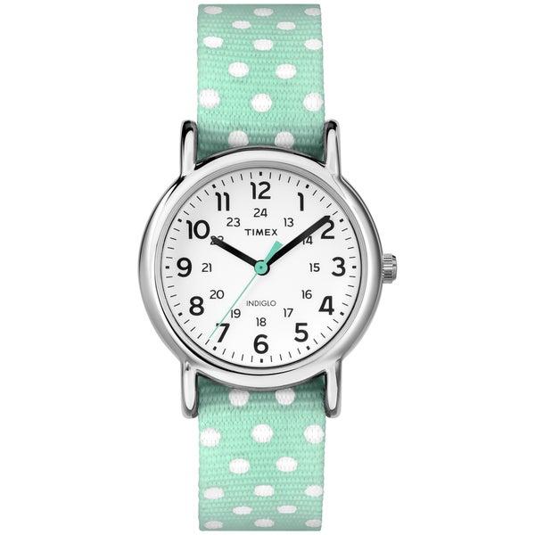 Timex Women's Weekender Reversible Polkadot Mint Green Nylon Strap Watch