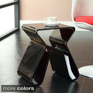 Acrylic End Table with Magazine Rack