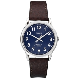 Timex Men's T2P319 Easy Reader Blue/ Silvertone Brown Leather Strap Watch