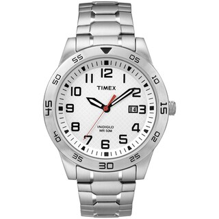 Timex Men's TW2P61400 White Dial Stainless Steel Expansion Band Watch