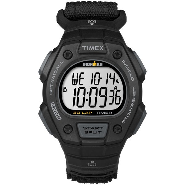 Timex Men's TW5K90800 Ironman Classic 30 Black Watch, Fast Wrap Velcro Strap