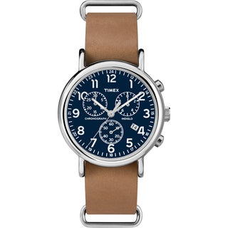 Timex Unisex Weekender Forty Chrono Tan Leather Strap Watch
