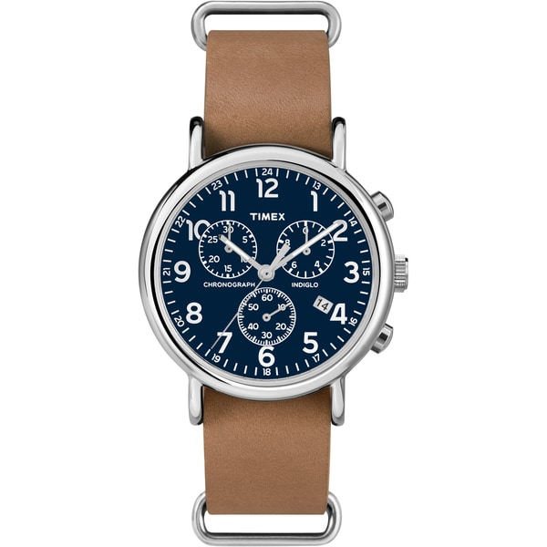 Timex TW2P623009J Unisex Weekender Forty Chrono Tan Leather Strap Watch